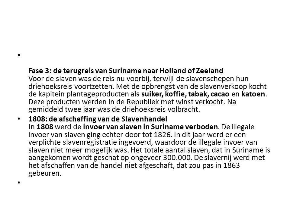 Fase 3: de terugreis van Suriname naar Holland of Zeeland Voor de slaven was de reis nu voorbij, terwijl de slavenschepen hun driehoeksreis voortzette