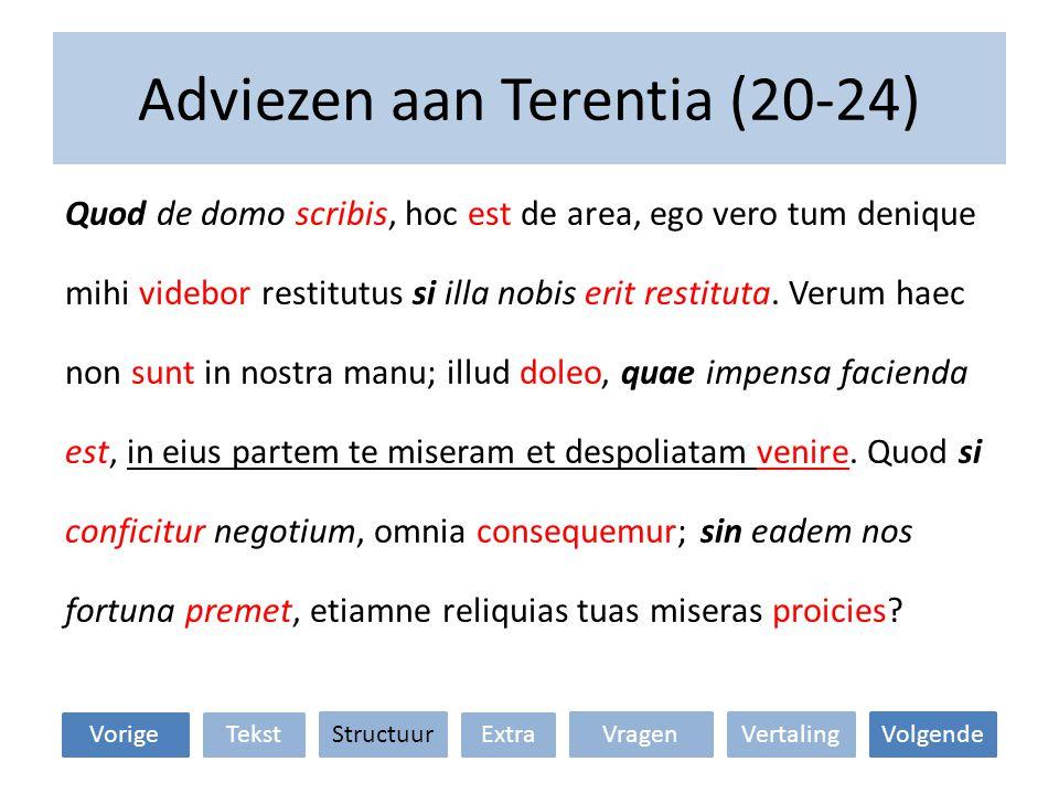 Adviezen aan Terentia (20-24) Quod de domo scribis, hoc est de area, ego vero tum denique mihi videbor restitutus si illa nobis erit restituta. Verum