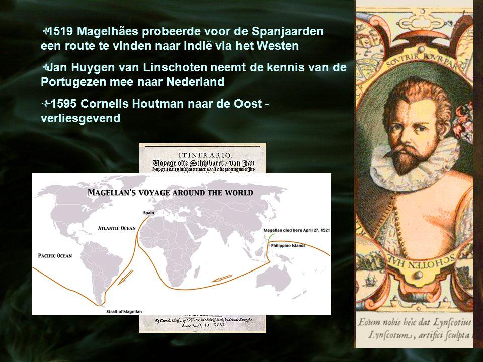  1519 Magelhães probeerde voor de Spanjaarden een route te vinden naar Indië via het Westen  Jan Huygen van Linschoten neemt de kennis van de Portug