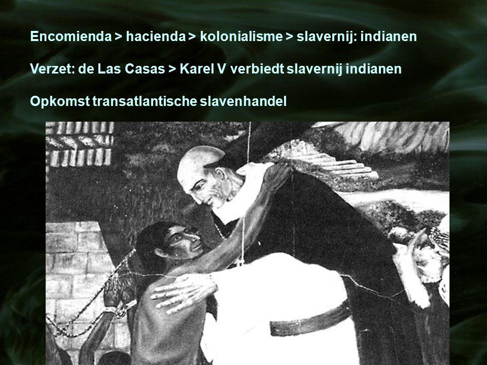 Encomienda > hacienda > kolonialisme > slavernij: indianen Verzet: de Las Casas > Karel V verbiedt slavernij indianen Opkomst transatlantische slavenh