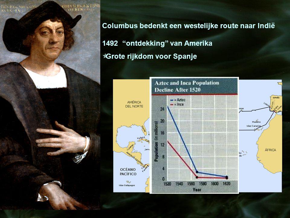 """Columbus bedenkt een westelijke route naar Indië 1492 """"ontdekking"""" van Amerika  Grote rijkdom voor Spanje"""