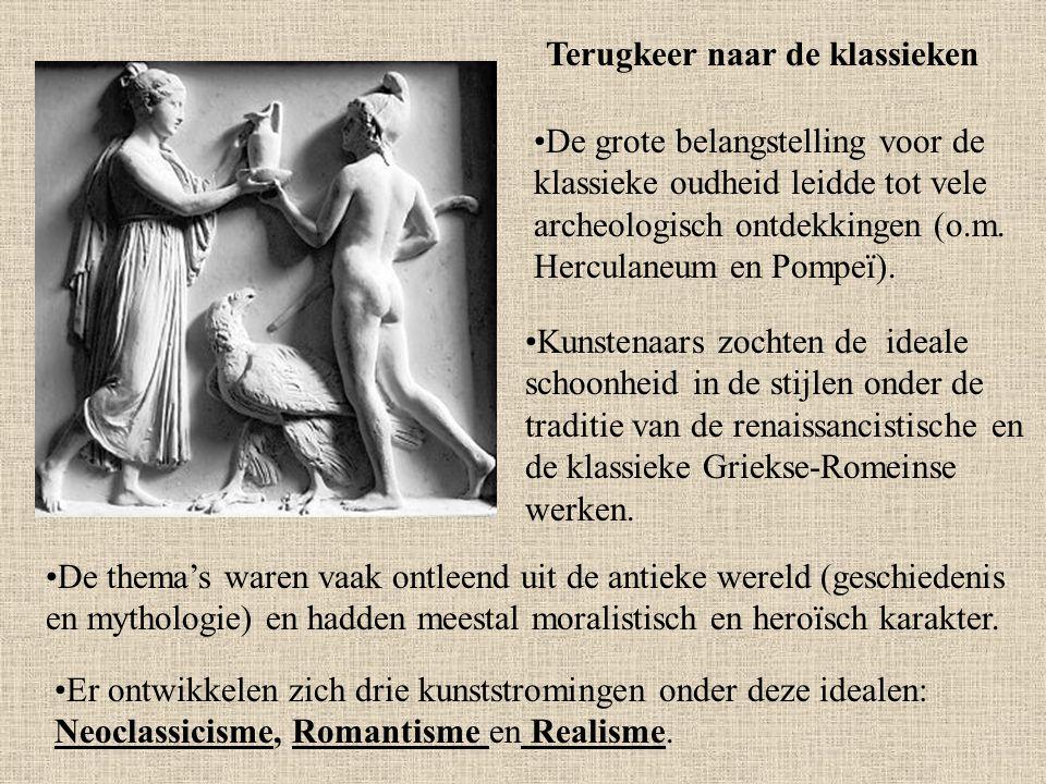 (Neo)classicisme Deze stromingen zijn sterk beïnvloed door de antieke Griekse en of Romeinse cultuur Classicisme kan aangewend worden voor allerlei vormen van kunst die teruggrijpen naar de Griekse of Romeinse oudheid.