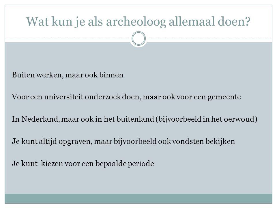 Wat kun je als archeoloog allemaal doen.