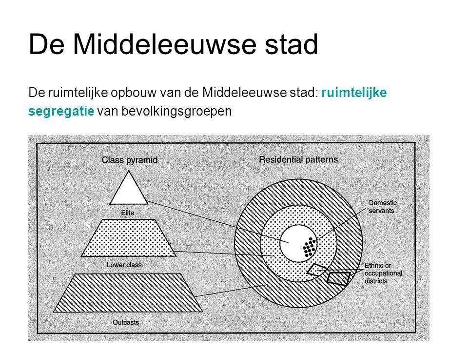 De Middeleeuwse stad De ruimtelijke opbouw van de Middeleeuwse stad: ruimtelijke segregatie van bevolkingsgroepen