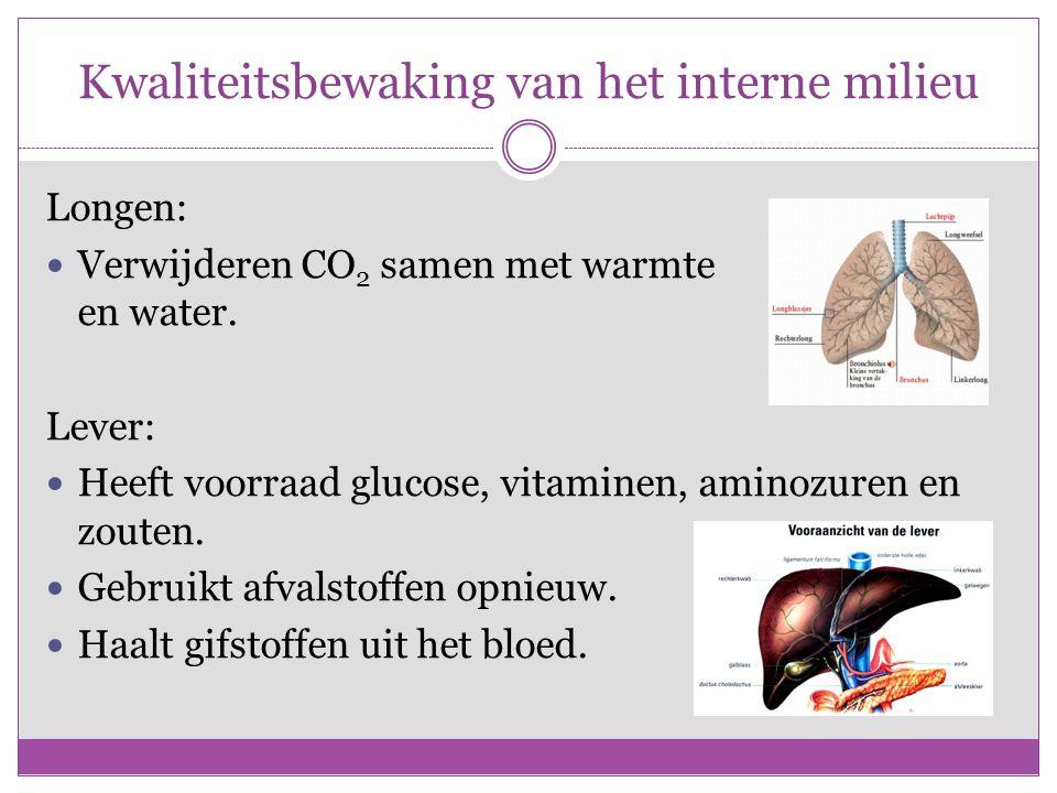 Kwaliteitsbewaking van het interne milieu Longen: Verwijderen CO 2 samen met warmte en water.