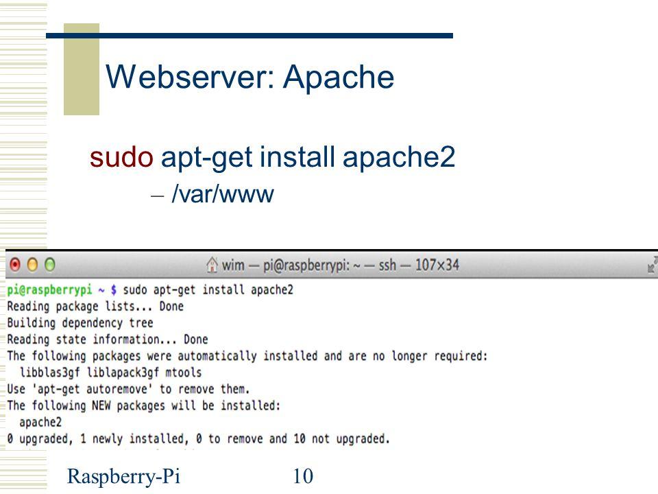 Raspberry-Pi10 Webserver: Apache sudo apt-get install apache2 – /var/www