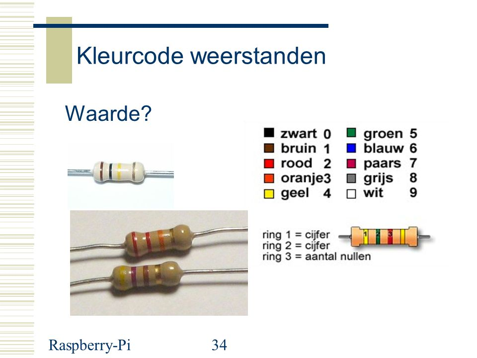 Raspberry-Pi34 Kleurcode weerstanden Waarde?