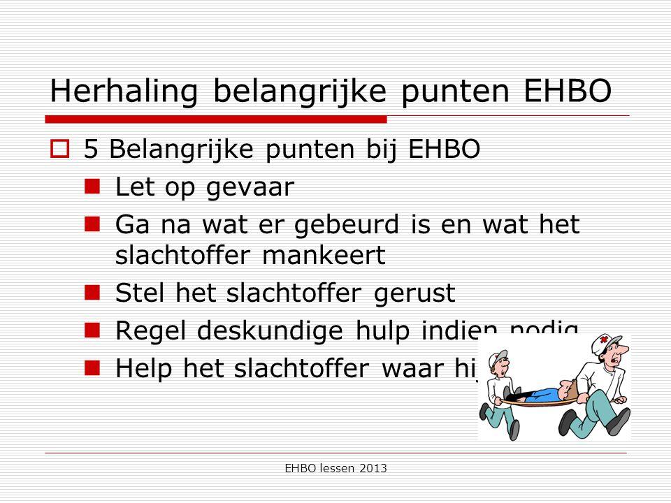 EHBO lessen 2013 Herhaling belangrijke punten EHBO  5 Belangrijke punten bij EHBO Let op gevaar Ga na wat er gebeurd is en wat het slachtoffer mankeert Stel het slachtoffer gerust Regel deskundige hulp indien nodig Help het slachtoffer waar hij ligt / zit