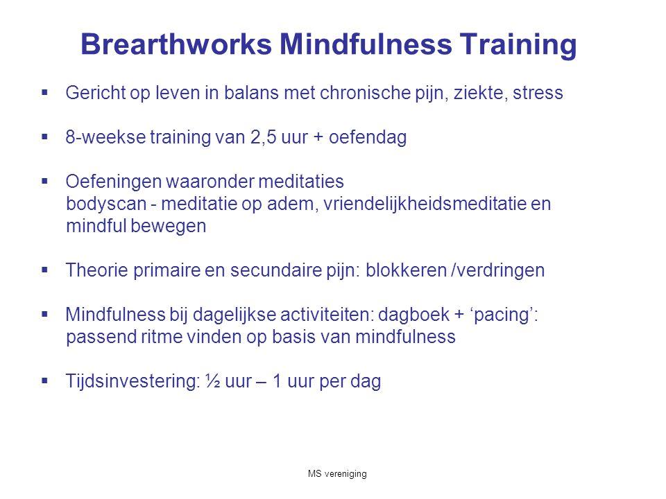 Brearthworks Mindfulness Training  Gericht op leven in balans met chronische pijn, ziekte, stress  8-weekse training van 2,5 uur + oefendag  Oefeningen waaronder meditaties bodyscan - meditatie op adem, vriendelijkheidsmeditatie en mindful bewegen  Theorie primaire en secundaire pijn: blokkeren /verdringen  Mindfulness bij dagelijkse activiteiten: dagboek + 'pacing': passend ritme vinden op basis van mindfulness  Tijdsinvestering: ½ uur – 1 uur per dag MS vereniging