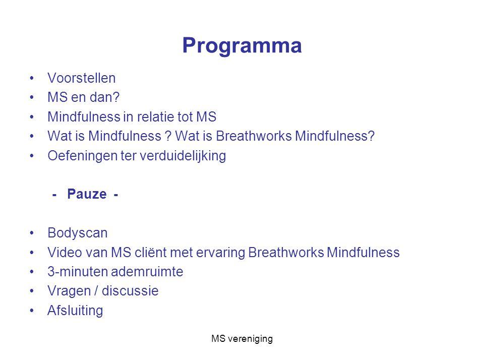 Programma Voorstellen MS en dan.Mindfulness in relatie tot MS Wat is Mindfulness .