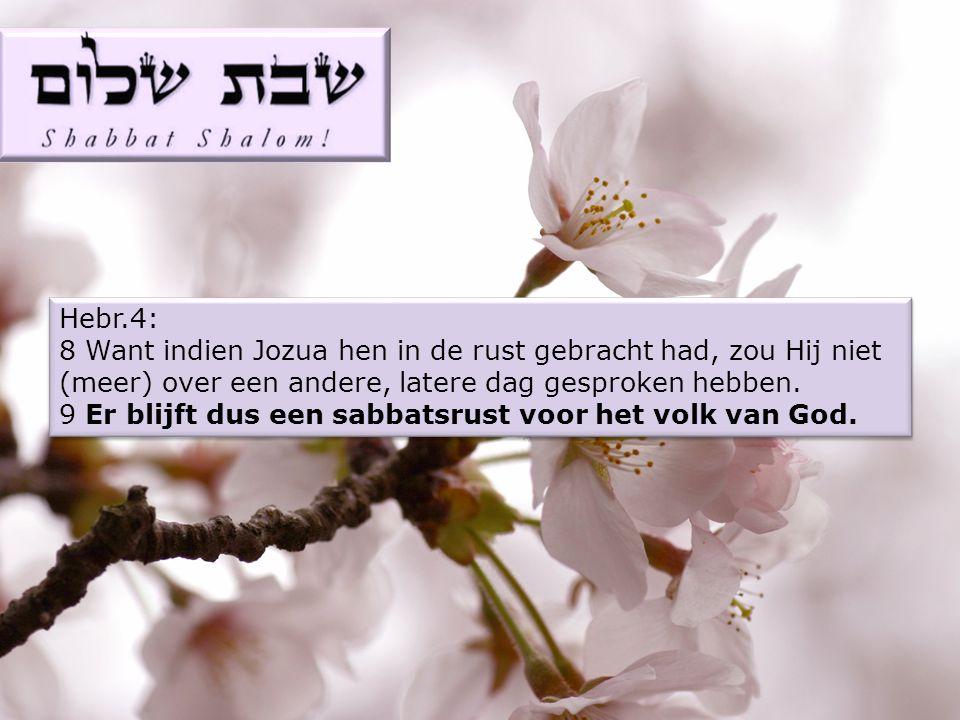 Hebr.4: 8 Want indien Jozua hen in de rust gebracht had, zou Hij niet (meer) over een andere, latere dag gesproken hebben.