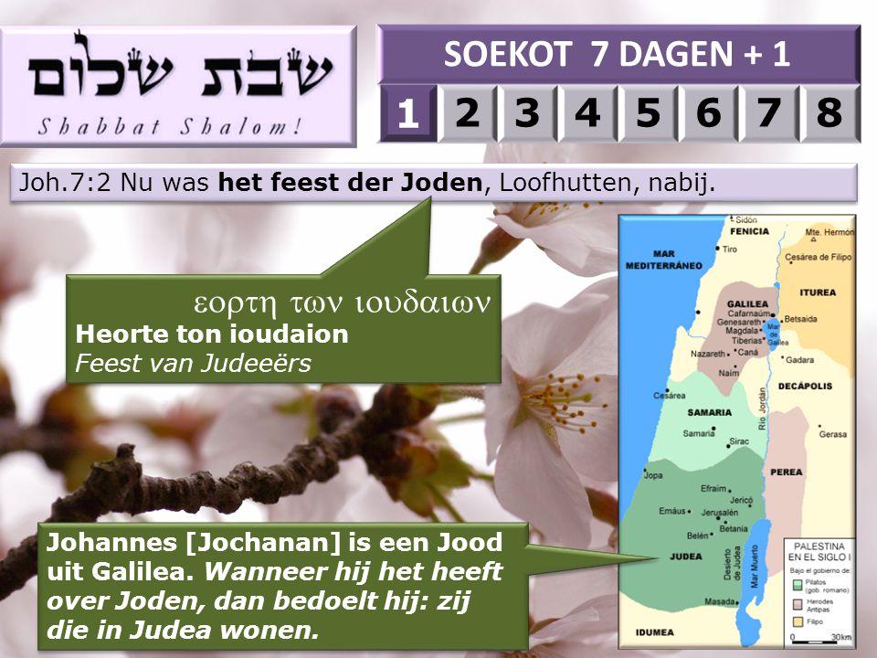 Joh.7:2 Nu was het feest der Joden, Loofhutten, nabij.