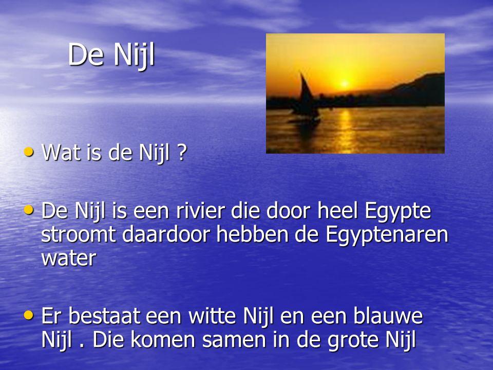 De Nijl De Nijl Wat is de Nijl ? Wat is de Nijl ? De Nijl is een rivier die door heel Egypte stroomt daardoor hebben de Egyptenaren water De Nijl is e