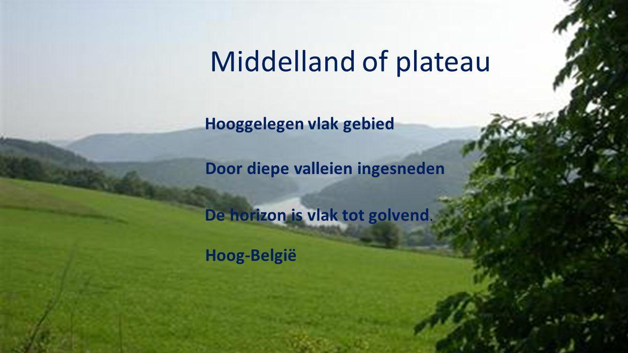 Middelland of plateau Hooggelegen vlak gebied De horizon is vlak tot golvend. Hoog-België Door diepe valleien ingesneden