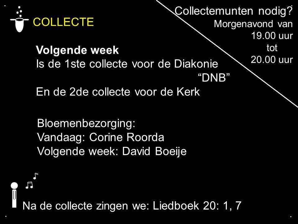 """.... COLLECTE Volgende week Is de 1ste collecte voor de Diakonie """"DNB"""" En de 2de collecte voor de Kerk Collectemunten nodig? Morgenavond van 19.00 uur"""