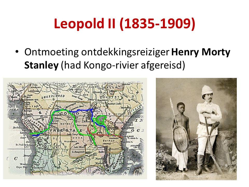 Leopold II (1835-1909) Ontmoeting ontdekkingsreiziger Henry Morty Stanley (had Kongo-rivier afgereisd)