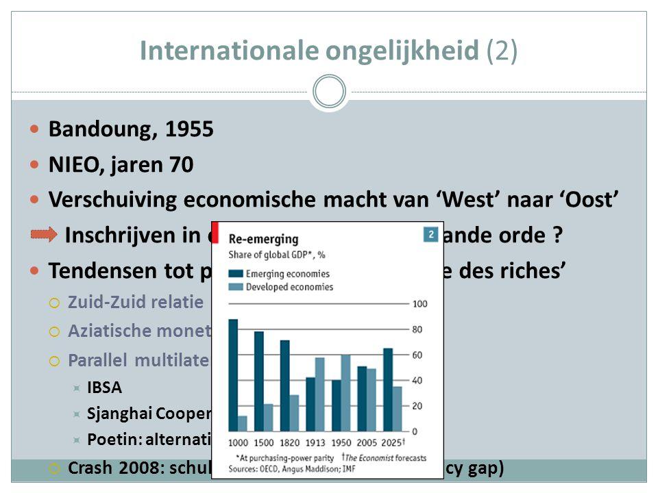 Internationale ongelijkheid (2) Bandoung, 1955 NIEO, jaren 70 Verschuiving economische macht van 'West' naar 'Oost' Inschrijven in of afzetten tegen bestaande orde .