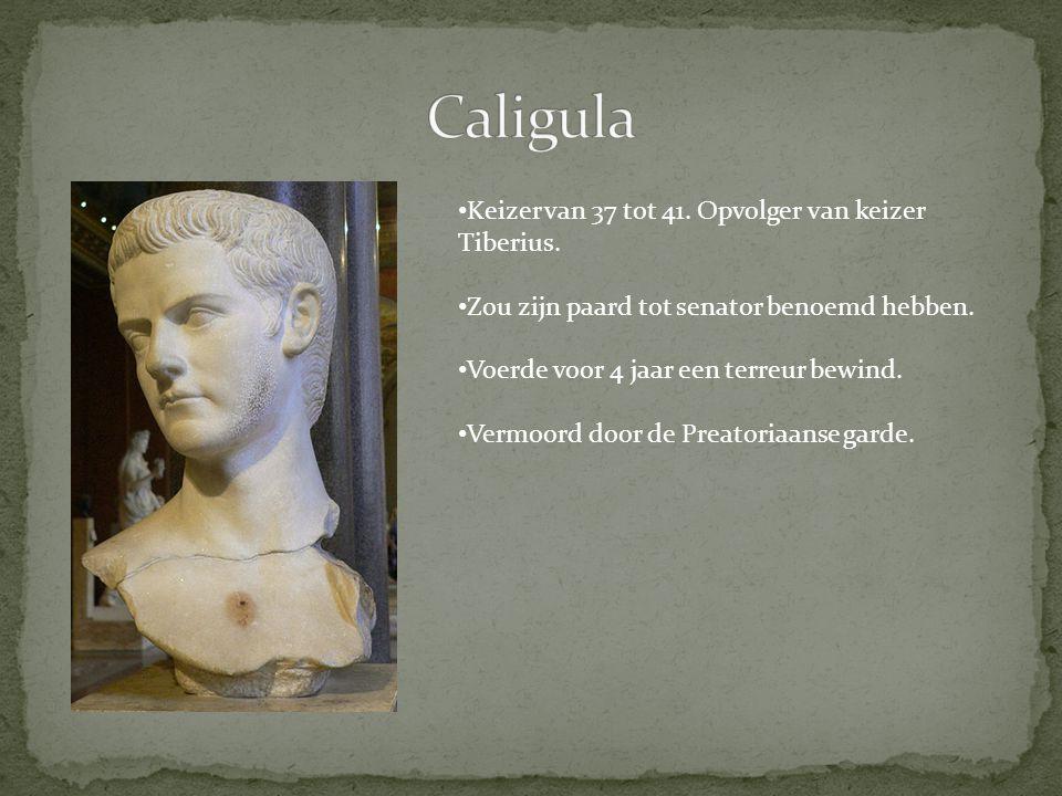 Keizer van 37 tot 41. Opvolger van keizer Tiberius. Zou zijn paard tot senator benoemd hebben. Voerde voor 4 jaar een terreur bewind. Vermoord door de