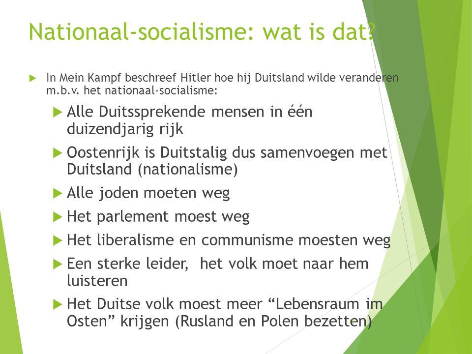 Nationaal-socialisme: wat is dat?  In Mein Kampf beschreef Hitler hoe hij Duitsland wilde veranderen m.b.v. het nationaal-socialisme:  Alle Duitsspr