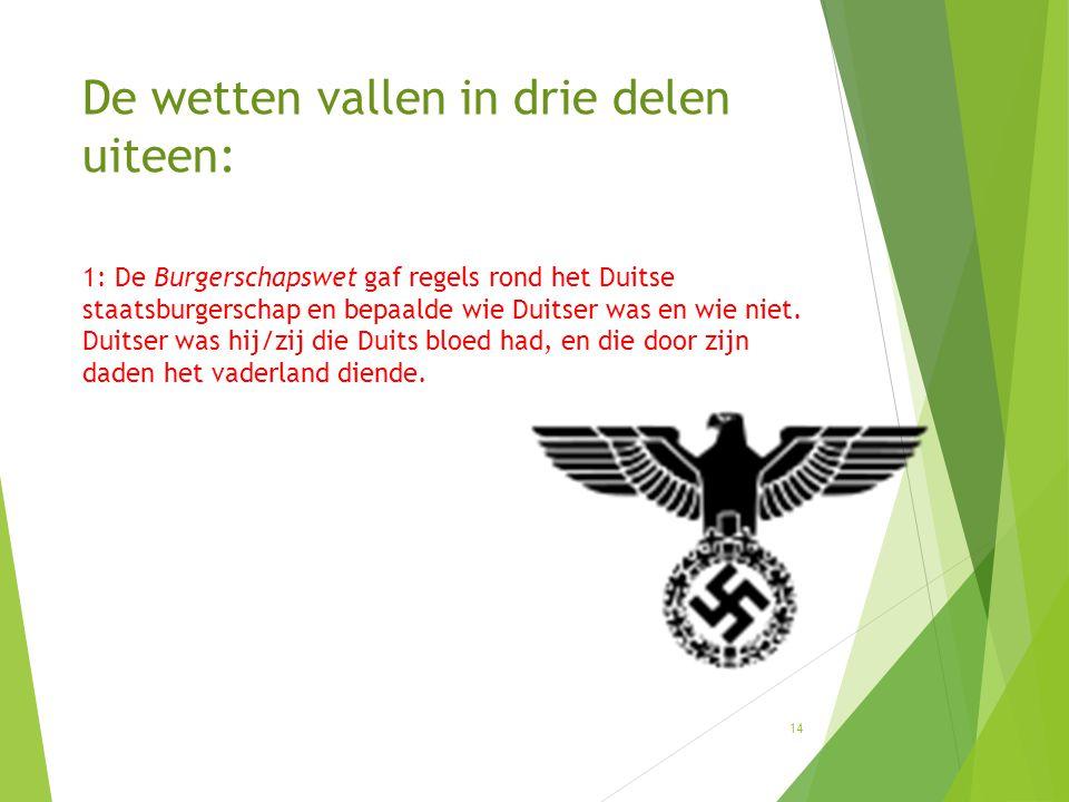 1: De Burgerschapswet gaf regels rond het Duitse staatsburgerschap en bepaalde wie Duitser was en wie niet. Duitser was hij/zij die Duits bloed had, e