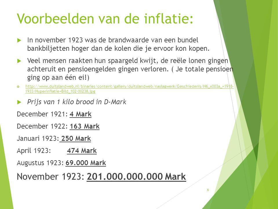 Voorbeelden van de inflatie:  In november 1923 was de brandwaarde van een bundel bankbiljetten hoger dan de kolen die je ervoor kon kopen.  Veel men