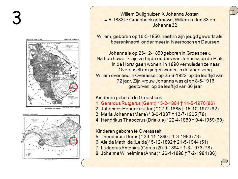 Willem Duijghuizen X Johanna Josten 4-5-1883 te Groesbeek getrouwd; Willem is dan 33 en Johanna 32.