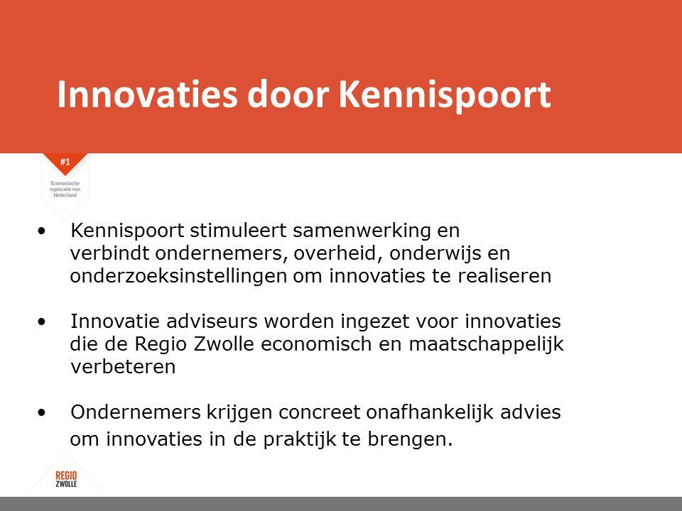 Innovaties door Kennispoort Kennispoort stimuleert samenwerking en verbindt ondernemers, overheid, onderwijs en onderzoeksinstellingen om innovaties te realiseren Innovatie adviseurs worden ingezet voor innovaties die de Regio Zwolle economisch en maatschappelijk verbeteren Ondernemers krijgen concreet onafhankelijk advies om innovaties in de praktijk te brengen.