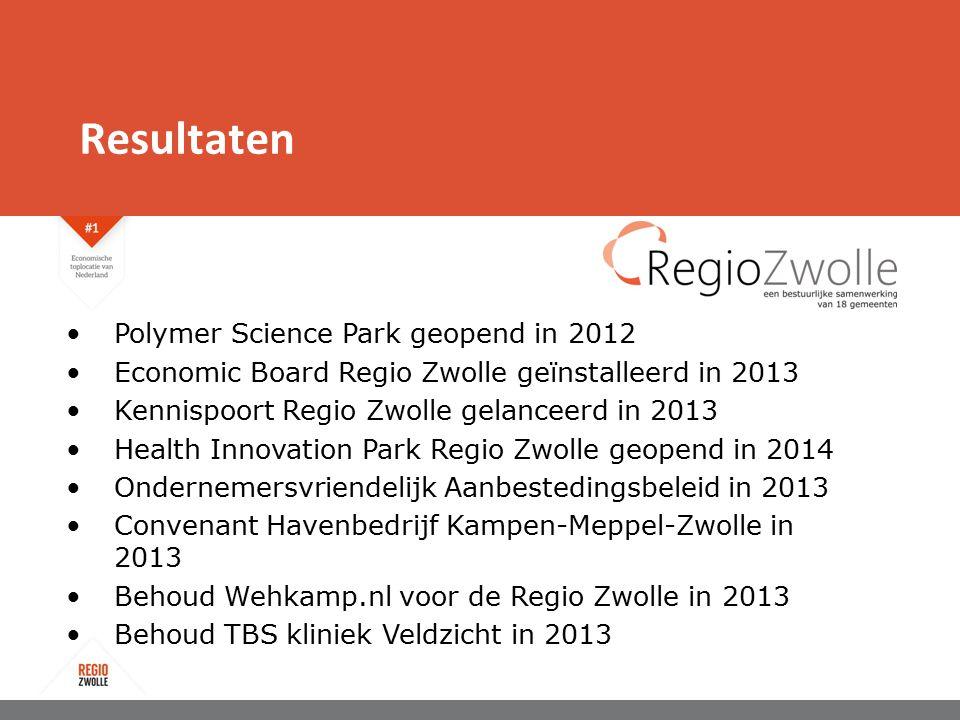Resultaten Polymer Science Park geopend in 2012 Economic Board Regio Zwolle geïnstalleerd in 2013 Kennispoort Regio Zwolle gelanceerd in 2013 Health Innovation Park Regio Zwolle geopend in 2014 Ondernemersvriendelijk Aanbestedingsbeleid in 2013 Convenant Havenbedrijf Kampen-Meppel-Zwolle in 2013 Behoud Wehkamp.nl voor de Regio Zwolle in 2013 Behoud TBS kliniek Veldzicht in 2013