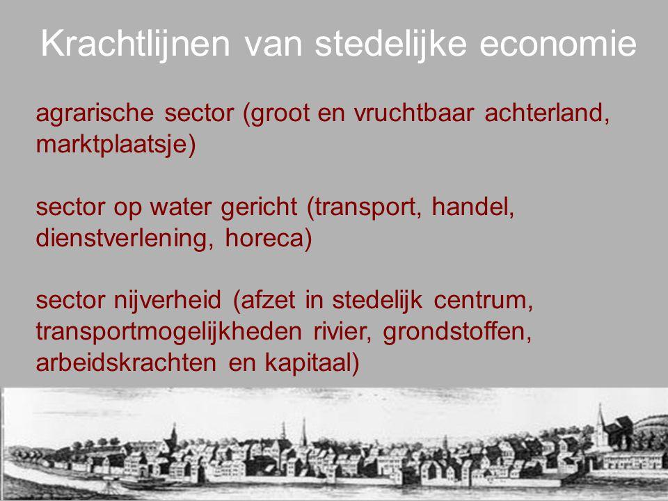 Krachtlijnen van stedelijke economie agrarische sector (groot en vruchtbaar achterland, marktplaatsje) sector op water gericht (transport, handel, die