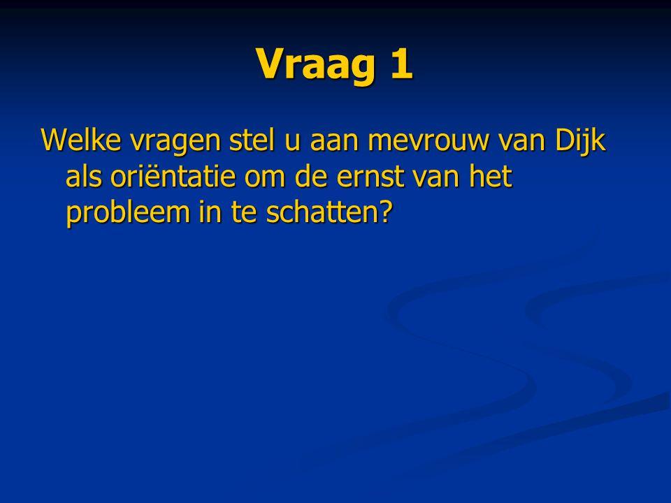 Vraag 1 Welke vragen stel u aan mevrouw van Dijk als oriëntatie om de ernst van het probleem in te schatten?