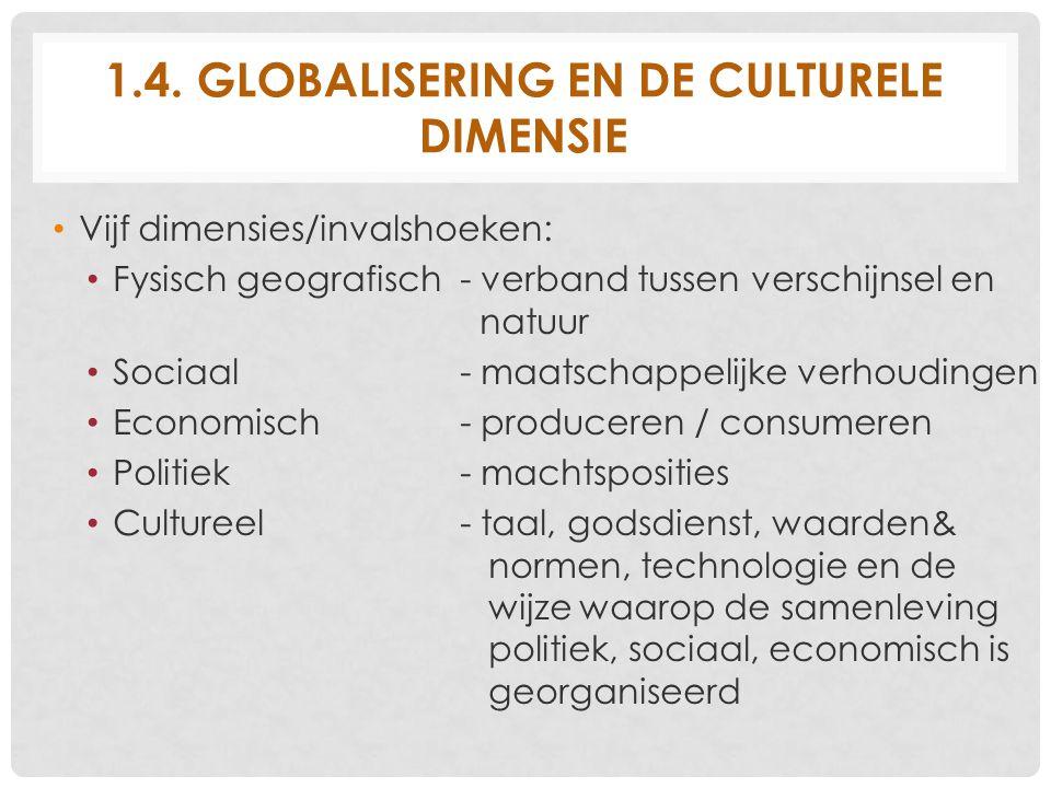 1.4. GLOBALISERING EN DE CULTURELE DIMENSIE Vijf dimensies/invalshoeken: Fysisch geografisch - verband tussen verschijnsel en natuur Sociaal- maatscha