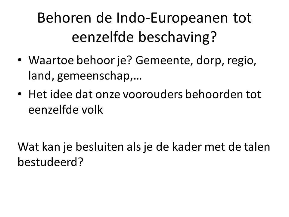 Behoren de Indo-Europeanen tot eenzelfde beschaving? Waartoe behoor je? Gemeente, dorp, regio, land, gemeenschap,… Het idee dat onze voorouders behoor