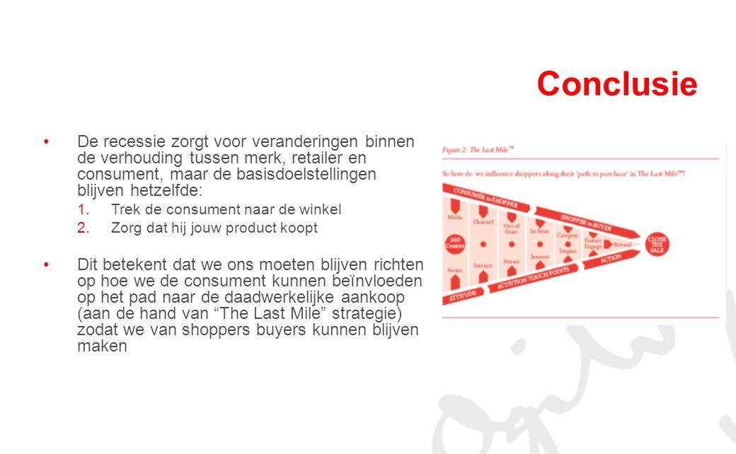 Conclusie De recessie zorgt voor veranderingen binnen de verhouding tussen merk, retailer en consument, maar de basisdoelstellingen blijven hetzelfde: 1.Trek de consument naar de winkel 2.Zorg dat hij jouw product koopt Dit betekent dat we ons moeten blijven richten op hoe we de consument kunnen beïnvloeden op het pad naar de daadwerkelijke aankoop (aan de hand van The Last Mile strategie) zodat we van shoppers buyers kunnen blijven maken