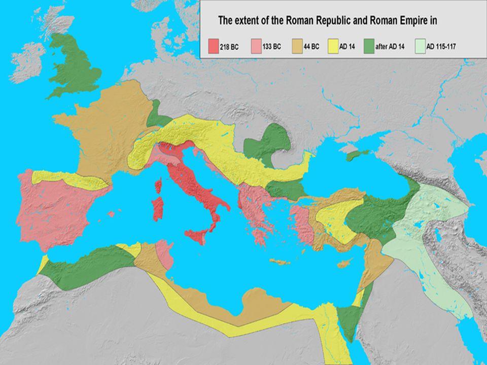 500 v.Chr. Rome komt in handen van de Senaat. Begin expansie: -264 v.