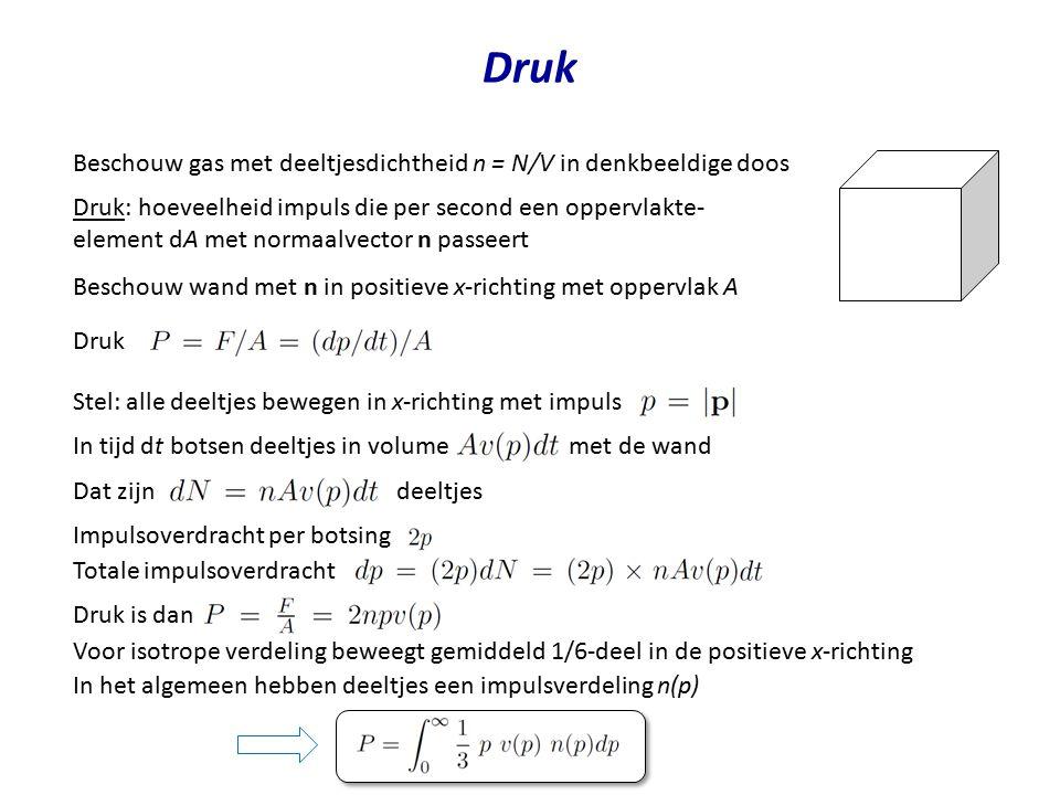 Druk Beschouw gas met deeltjesdichtheid n = N/V in denkbeeldige doos Druk: hoeveelheid impuls die per second een oppervlakte- element dA met normaalve