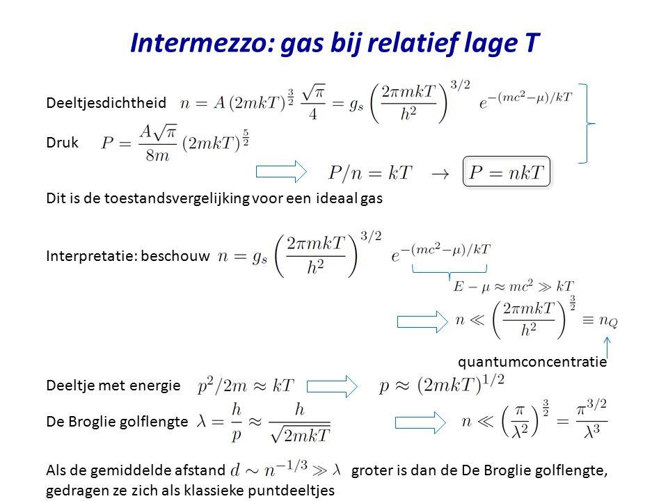 Intermezzo: gas bij relatief lage T Deeltjesdichtheid Druk Dit is de toestandsvergelijking voor een ideaal gas Interpretatie: beschouw Deeltje met ene