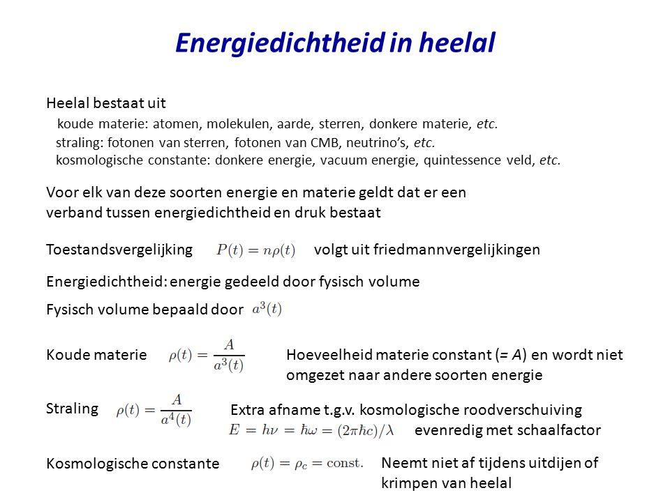 Energiedichtheid in heelal Heelal bestaat uit koude materie: atomen, molekulen, aarde, sterren, donkere materie, etc. straling: fotonen van sterren, f