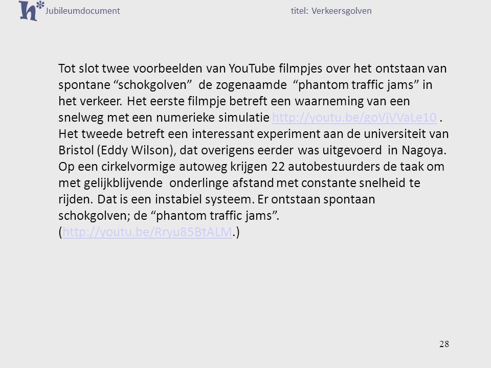 Tot slot twee voorbeelden van YouTube filmpjes over het ontstaan van spontane schokgolven de zogenaamde phantom traffic jams in het verkeer.
