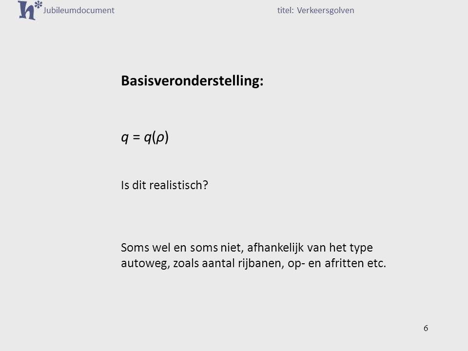 Basisveronderstelling: q = q(ρ) Is dit realistisch.