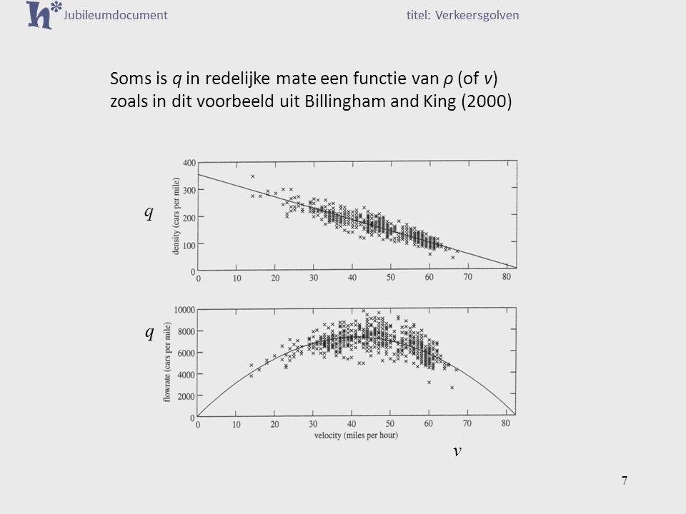 Soms is q in redelijke mate een functie van ρ (of v) zoals in dit voorbeeld uit Billingham and King (2000) q v q q 7
