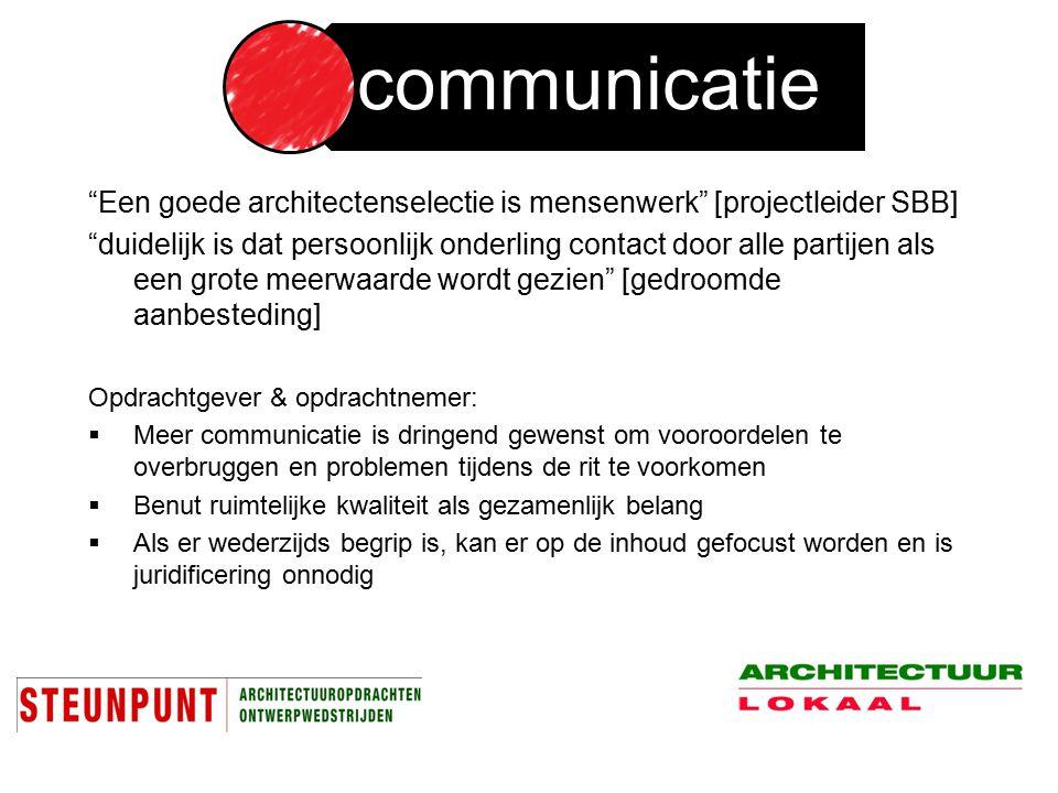 """""""Een goede architectenselectie is mensenwerk"""" [projectleider SBB] """"duidelijk is dat persoonlijk onderling contact door alle partijen als een grote mee"""