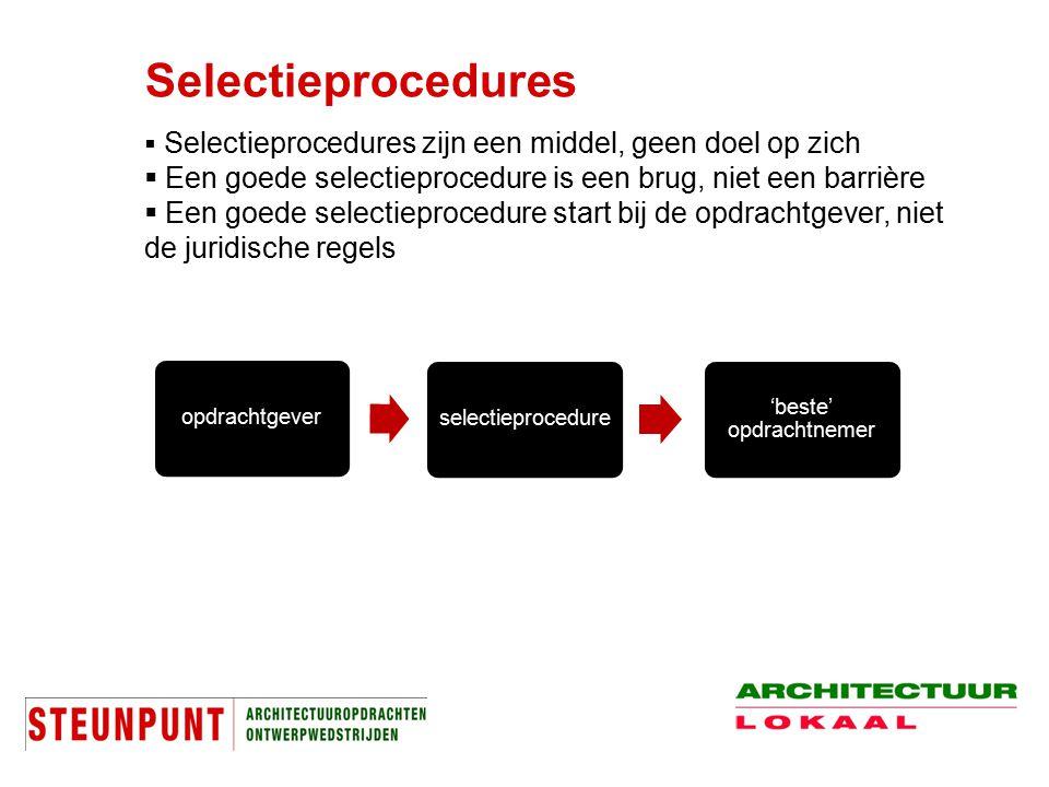 Selectieprocedures  Selectieprocedures zijn een middel, geen doel op zich  Een goede selectieprocedure is een brug, niet een barrière  Een goede se