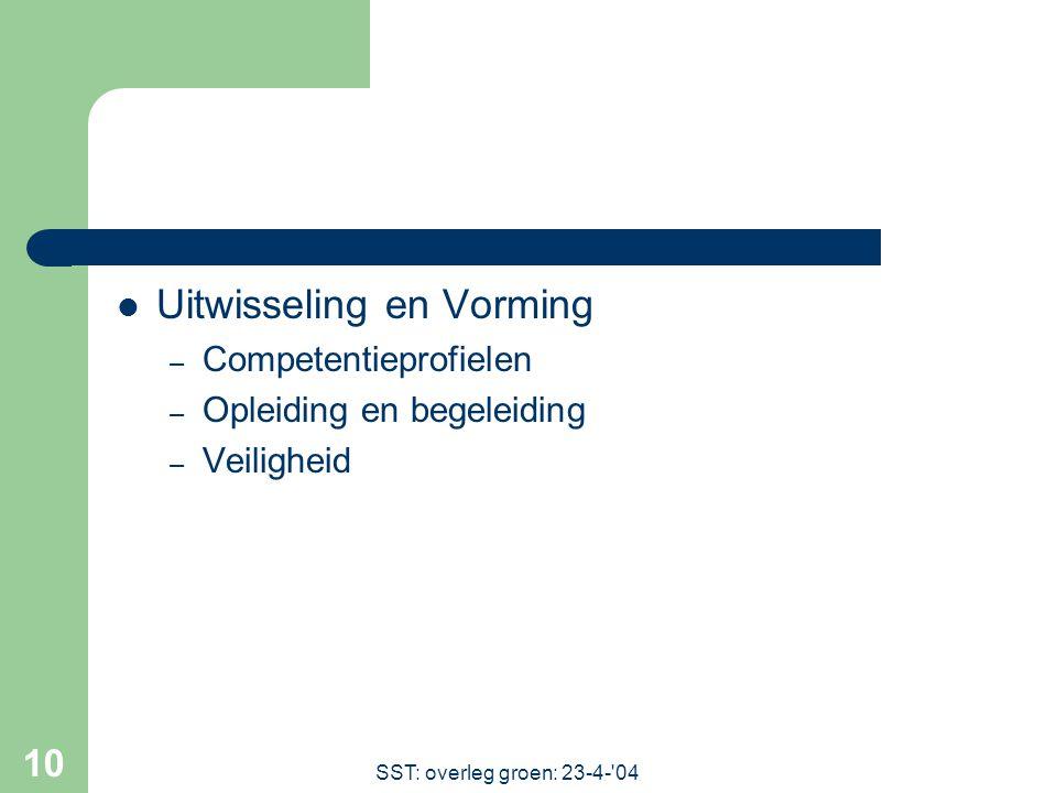 SST: overleg groen: 23-4- 04 10 Uitwisseling en Vorming – Competentieprofielen – Opleiding en begeleiding – Veiligheid