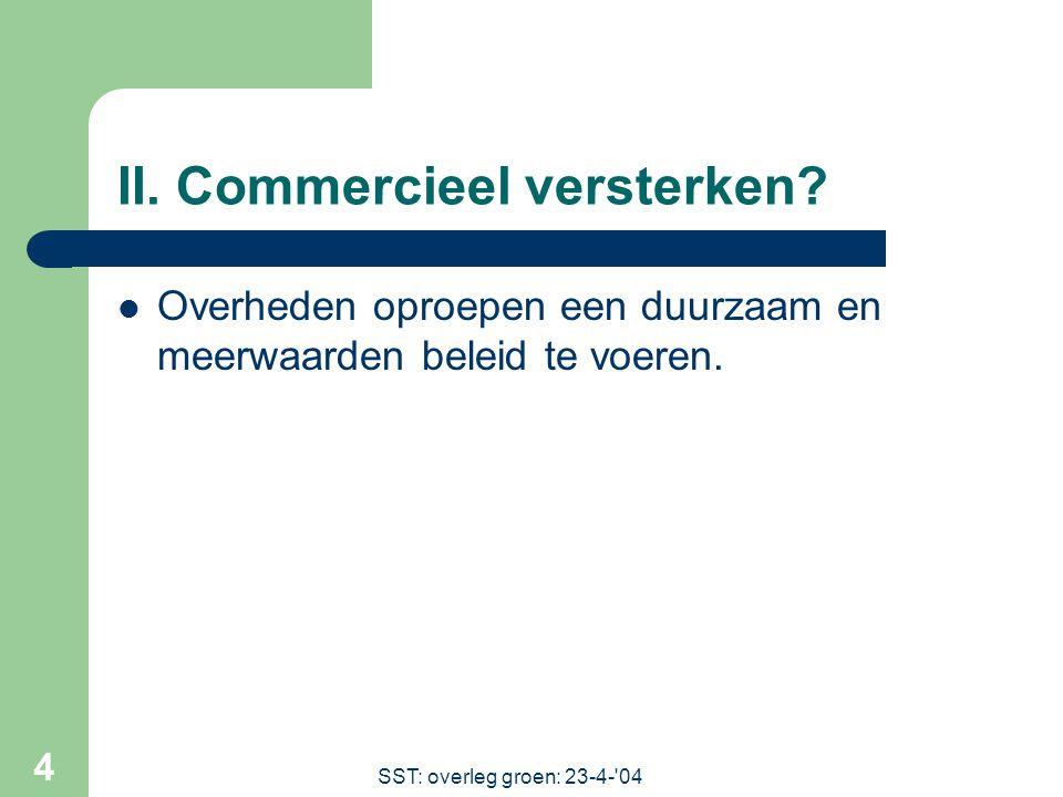 SST: overleg groen: 23-4- 04 4 II. Commercieel versterken.