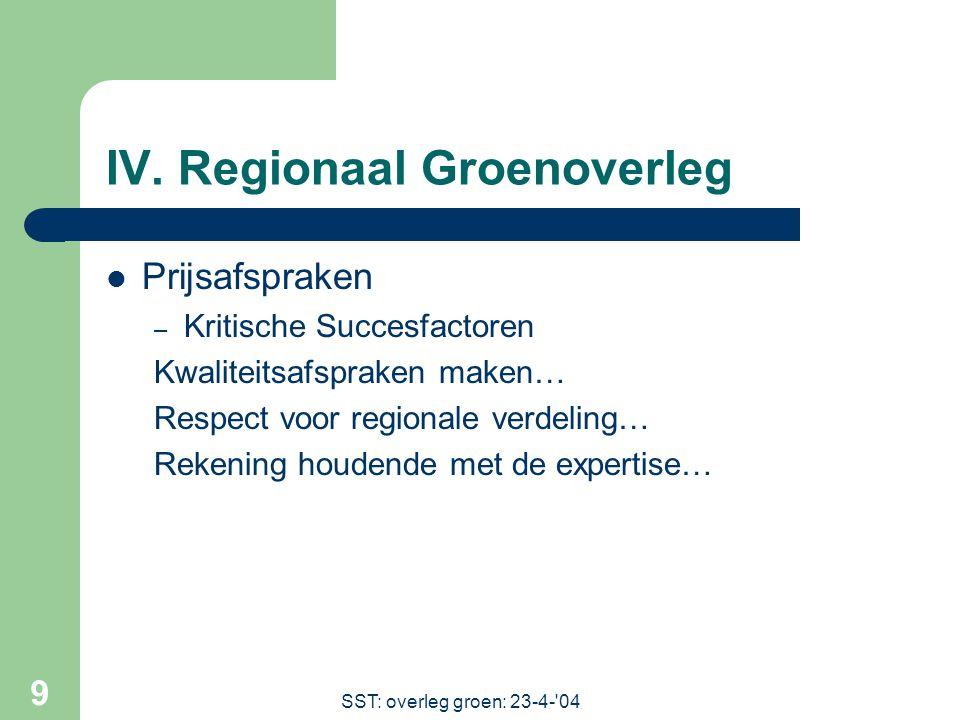 SST: overleg groen: 23-4- 04 9 IV.