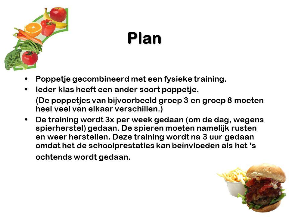 Plan Poppetje gecombineerd met een fysieke training. Ieder klas heeft een ander soort poppetje. (De poppetjes van bijvoorbeeld groep 3 en groep 8 moet