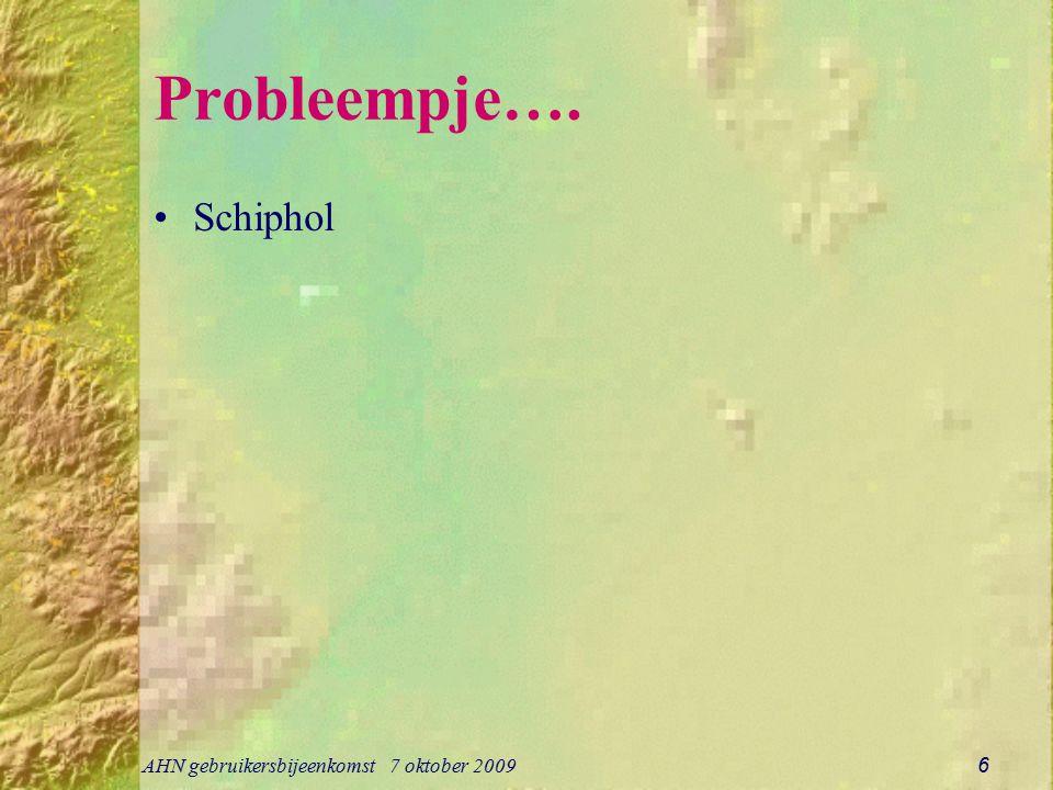 AHN gebruikersbijeenkomst 7 oktober 2009 6 Probleempje…. Schiphol