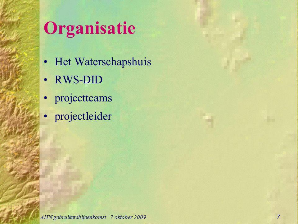 AHN gebruikersbijeenkomst 7 oktober 2009 7 Organisatie Het Waterschapshuis RWS-DID projectteams projectleider