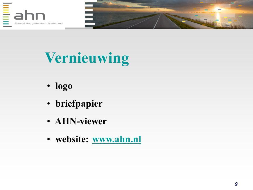 9 logo briefpapier AHN-viewer website: www.ahn.nlwww.ahn.nl Vernieuwing
