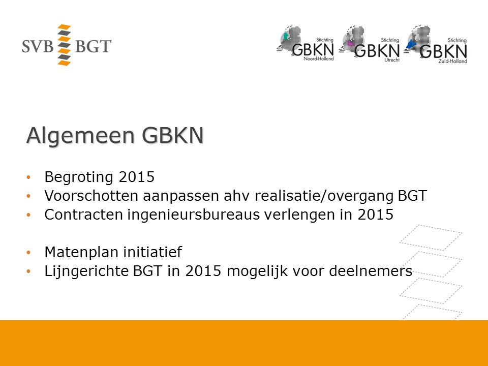 Algemeen GBKN Begroting 2015 Voorschotten aanpassen ahv realisatie/overgang BGT Contracten ingenieursbureaus verlengen in 2015 Matenplan initiatief Li